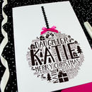Daughter Personalised Christmas Bauble Card