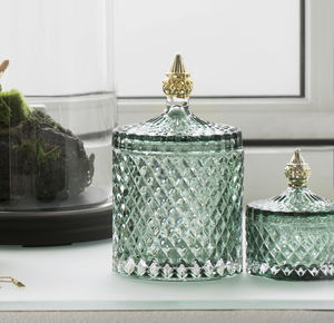 Granite Green And Pale Gold Glass Jar