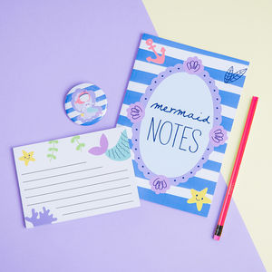 Mermaid Stationery Notebook Gift Set - pins & brooches