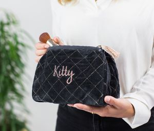 Personalised Quilted Charcoal Velvet Wash Bag - gifts for her