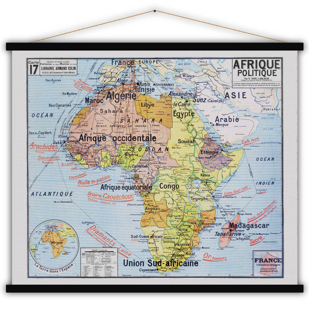 French Africa Map.French Cotton Map Print Of Africa By Lime Lace Notonthehighstreet Com