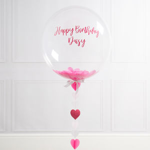 Inflated Pink And White Heart Confetti Filled Balloon - view all new