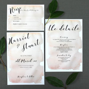 Watercolour Effect Calligraphy Wedding Invitation - wedding stationery