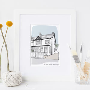 Personalised House Portrait - gifts for fathers