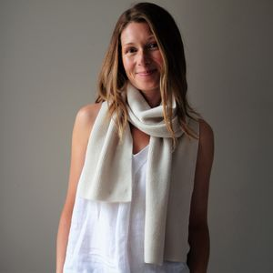 Personalised Cashmere Ribbed Scarf