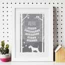 Personalised Dog Character Traits Woodland Print