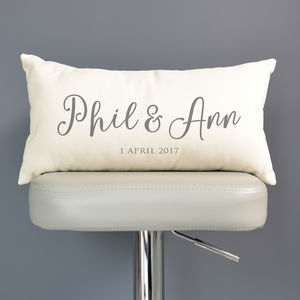 Personalised Couple's Names And Date Cushion