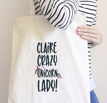 Personalised Crazy Unicorn Lady Bag
