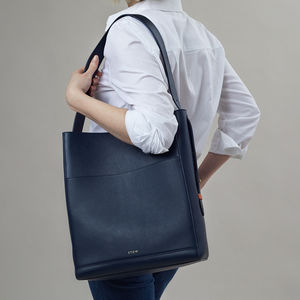 Luxury Navy Leather Shoulder Bag With Soft Suede Lining