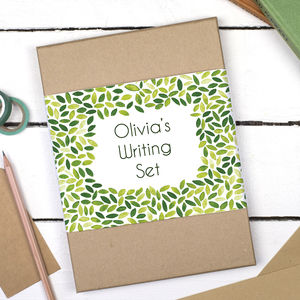 Personalised Leaf Droplet Writing Set - winter sale