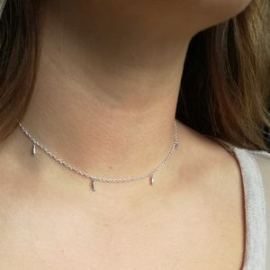 Delicate Silver Bead Choker Necklace