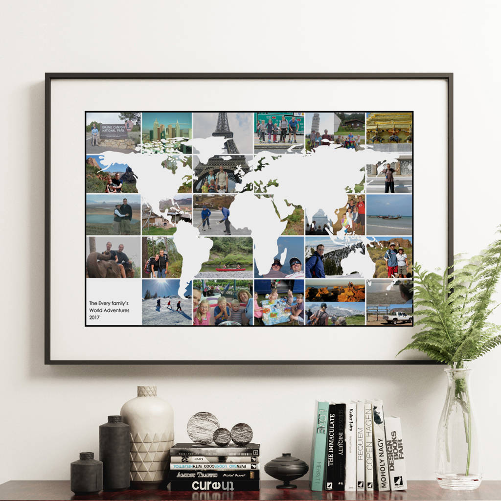 Personalised world travel photo collage map by hello ruth personalised world travel photo collage map gumiabroncs Gallery