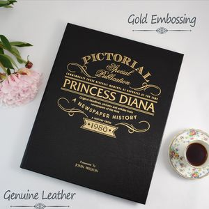 Personalised Princess Diana Leather Biography Book - books