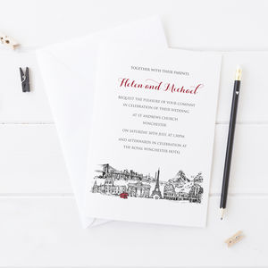 Wedding Invitation With Bespoke Skyline - new in wedding styling