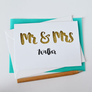 Personalised Mr And Mrs Glitter Cut Out Card - wedding cards