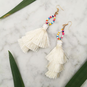 Boho Tassel Tiered Earrings - new in womens jewellery