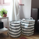 Set Of Grey Stripey Storage Baskets