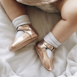 Rose Gold T Bar Moccasins - clothing