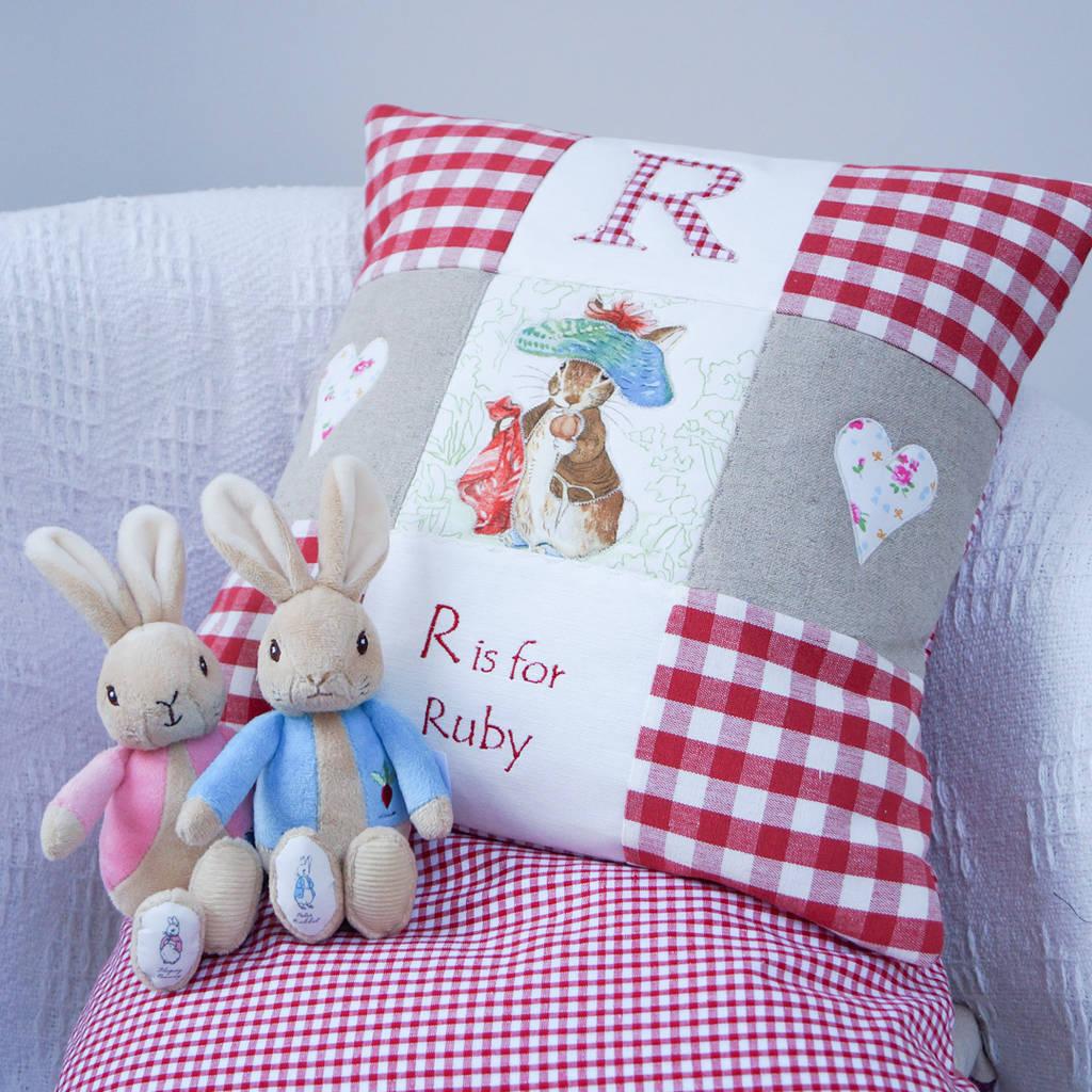 Beatrix Potter Red Alphabet Cushion