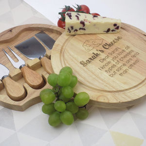 Personalised Cheeseboard And Knives Set - kitchen accessories