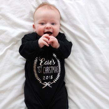 Personalised First Christmas Sleep Suit/ Baby Grow