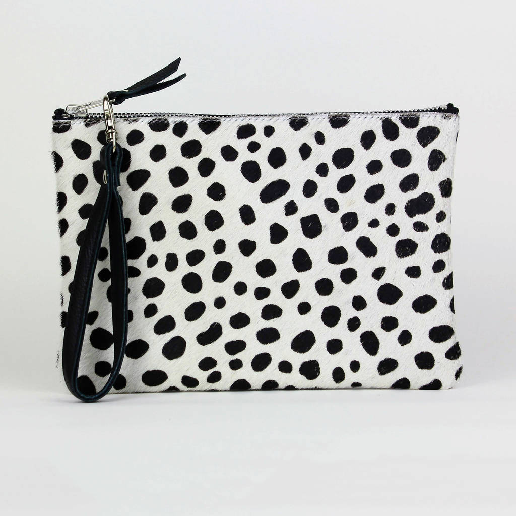 Animal Print Leather Clutch Bag By