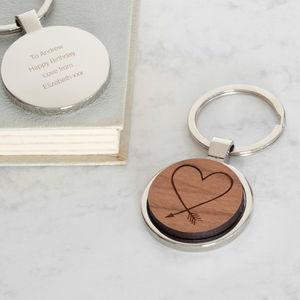 Personalised Wooden Heart Arrow Keyring - 30th birthday gifts