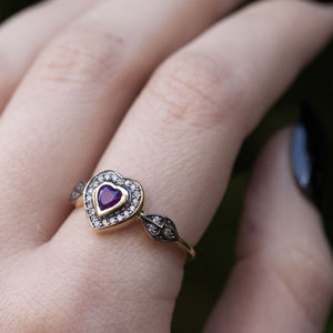 Amethyst Heart Ring In Silver Or Gold - birthstone jewellery gifts