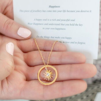 Sunshine Necklace With Happiness Circle And Message