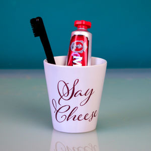 Personalised Hand Lettered Toothbrush Holder