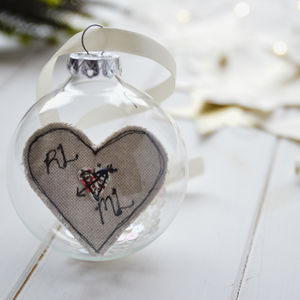 Personalised Love Heart Bauble For Couple