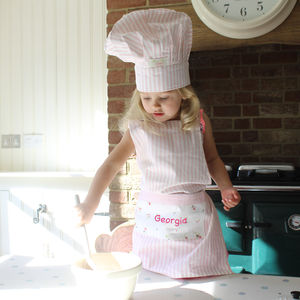 Childs Floral Chef Baking Apron And Hat Set