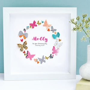 Personalised Baby Girl Butterfly Framed Art - mixed media & collage