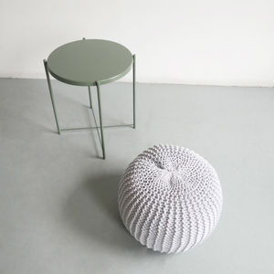Hand Knitted Cord Pouf - furniture