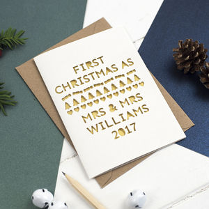 First Christmas As 'Mrs And Mrs' Papercut Card - christmas cards