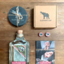 Personalised Elephant Gin Set With Coasters And Pins