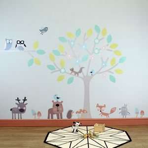 Woodland Tree With Animals Wall Stickers - wall stickers