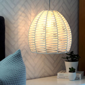 Cream Hand Woven Dome Ceiling Pendant - lampshades