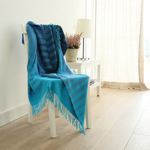 Baby Alpaca Blues Stripes Throw Bella