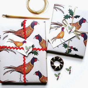 Pheasant Christmas Wrapping Paper Gift Set - winter sale