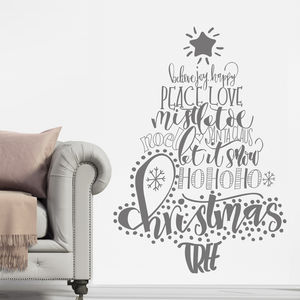 Calligraphy Christmas Tree Wall Sticker