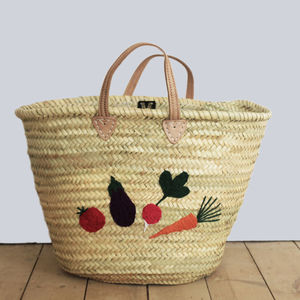 Embroidered Market Shopping Basket