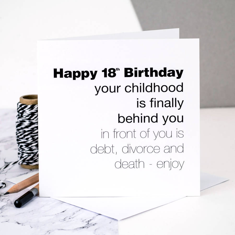 18th birthday card childhood is behind you by coulson macleod standard card bookmarktalkfo Images