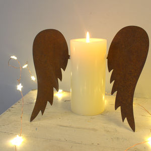 Pair Of Rust Candle Wings - candles & home fragrance