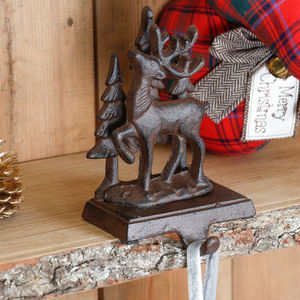 Woodland Reindeer Cast Iron Stocking Holder - kitchen
