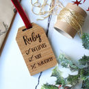 Personalised Oak Christmas Tree Tag Decoration