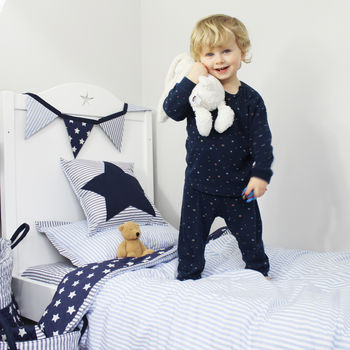 Blue Cot Bed Duvet Cover And Pillow Case