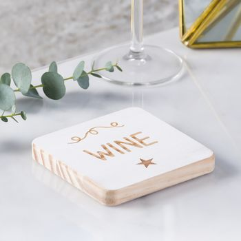'Wine' Personalised Wooden Coaster