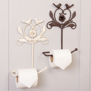 Metal Flower Love Birds Wall Mounted Toilet Roll Holder