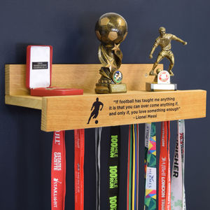 Personalised Medal Hanging Achievement Hook Shelf - for football lovers